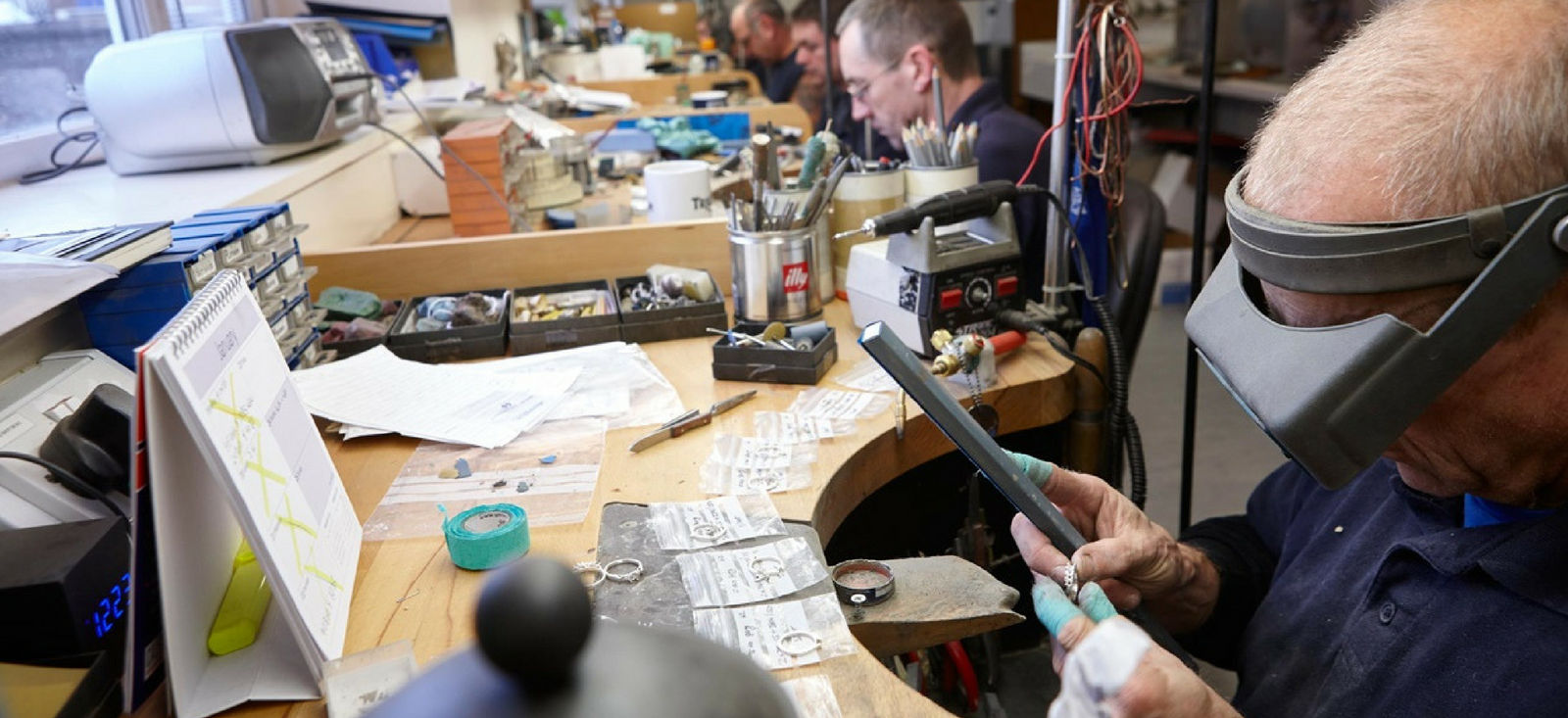 Hockley Mint The William Agency Copywriting Client 2018 - Craftsmen working at the Bench in Birmingham's Jewellery Quarter